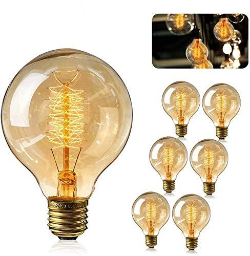 Edison Vintage Glühbirne, 6 Stück Globe Glühlampe Retro Glühbirne Warmweiß E27 Nostalgie leuchtmittel Dimmbar Dekorativ Lampe Ideal für Dekorative Beleuchtung im Haus Café Bar usw