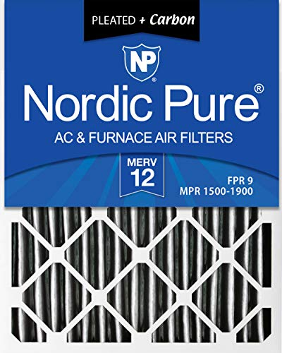 Nordic Pure 16x25x1 MERV 12 Pleated Plus Carbon AC Furnace Air Filters, 6 PACK, 6 Piece