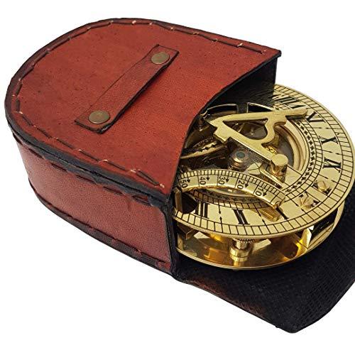 Den nya antika butiken – Sundial kompass med intrikata detaljer kommer i ett utsökt toppkornigt läderfodral – premium solskydd kompass