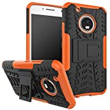 Moto G5 Plus Case,Moto G Plus (5th Generation) Case,Yiakeng Shockproof Impact Dual Layer Protective Case Cover with Kickstand for Motorola Moto G5 Plus (Orange)