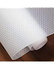 Hersvin 45cmx500cm Plastico Protector para Cocina Cajones, Alfombras Non Adhesivo para Nevera Mueble Fregadero Estante Organizador Cubiertos EVA Cubre Encimera(Transparente Punto)