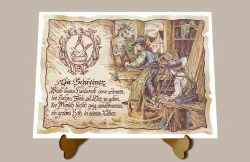 Geschenk Schreiner Tischler Zeichnung Color 30 x 21 cm mit Aufsteller