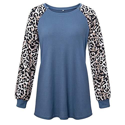Herbst Und Winter Frauen Rundhals-Leopardenmuster Langarm T-Shirt Frauen