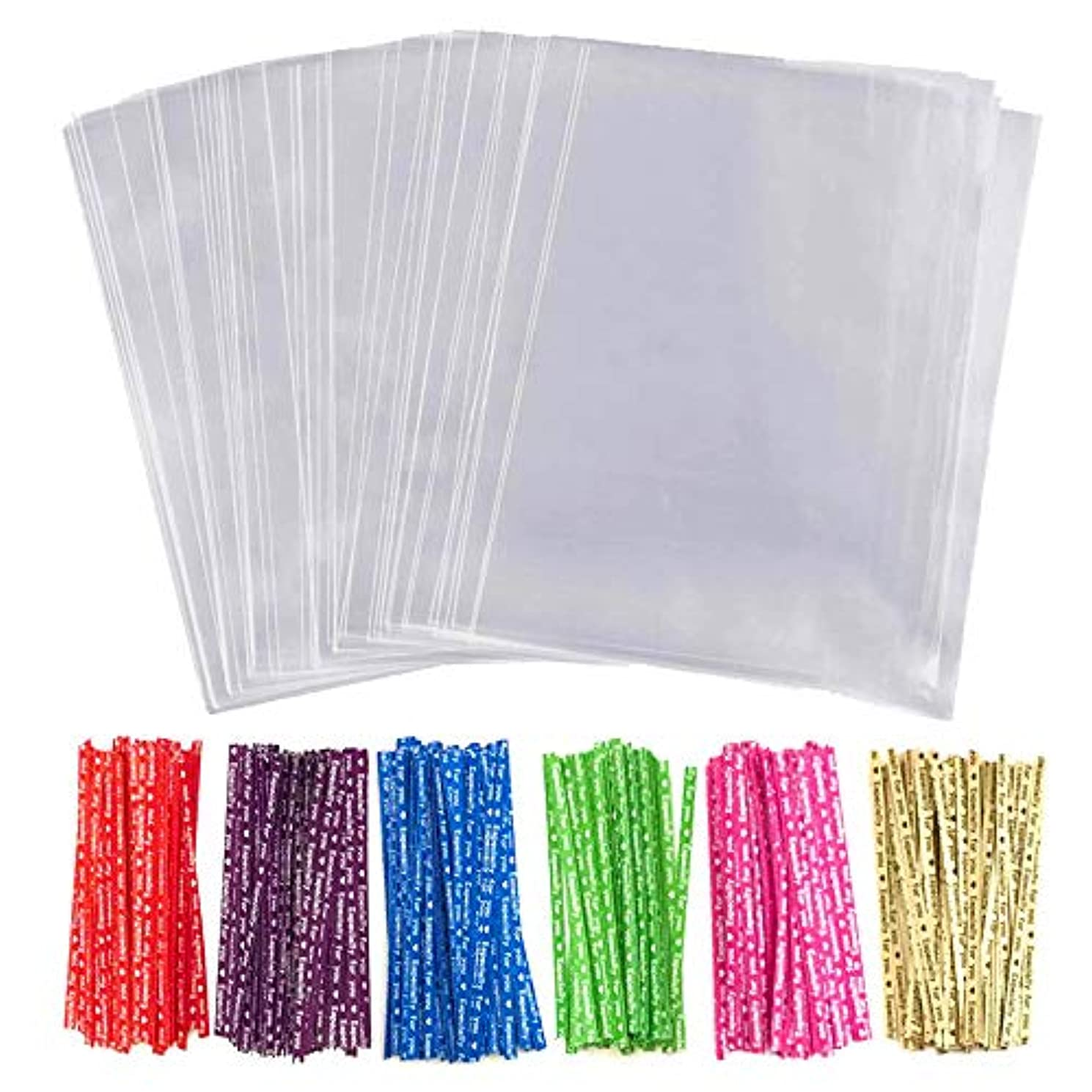 Cellophane Treat Bags 100 Pcs Clear Cello Candy Cookie Lollipop Bakery Dessert Cello Flat Goodie Bag with 100 Twist Ties Resealable 5