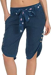 VEZAD High Waist Yoga Loose Cropped Pants Women Elastic Boho Check Baggy Wide Leg Capris Trousers
