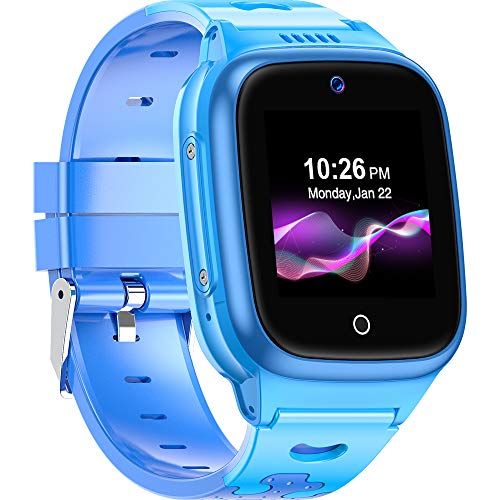 4G Kids Smartwatch -- SpeedTalk SIM Card Included GPS Locator 2-Way Face to Face Call Voice & Video Camera SOS Alarm Remote Monitoring Worldwide Coverage in Select Countries [Age 4 Years +] Blue