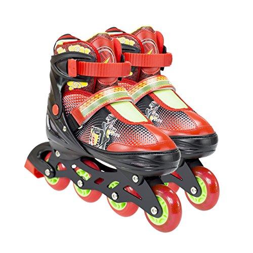 NILS Inliner Kinder Erwachsene Verstellbare Inline Skates | Kinderinliner Größenverstellbar ABEC7 Lager | Inlineskates in Größen 26-37 | LED Rollen | Pink Blau Rot | NJ4605 (Rot, 30-33)