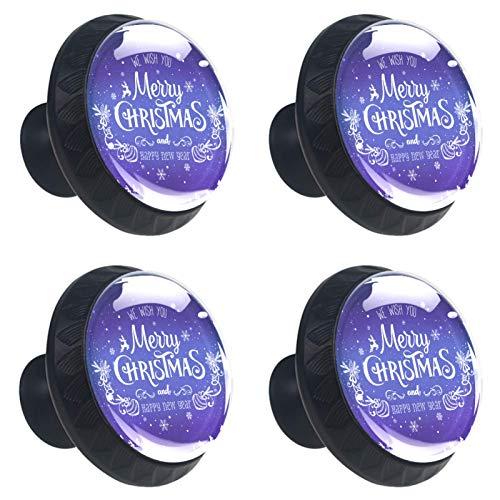 Set of 4 Christmas Snowflakes, Stars Cupboard Cabinet Door Knobs Drawer Pulls & Hardware