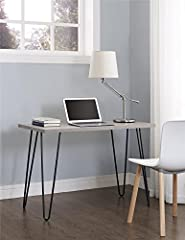 Place the slim Ameriwood Home Owen Retro Desk in the living room, dining room or bedroom for an industrial feel Minimal assembly required. Dimensions: 26.75 inches h x 40 inches w x 19.5 inches d. Shipping weight is approximately 30.21 pounds A light...