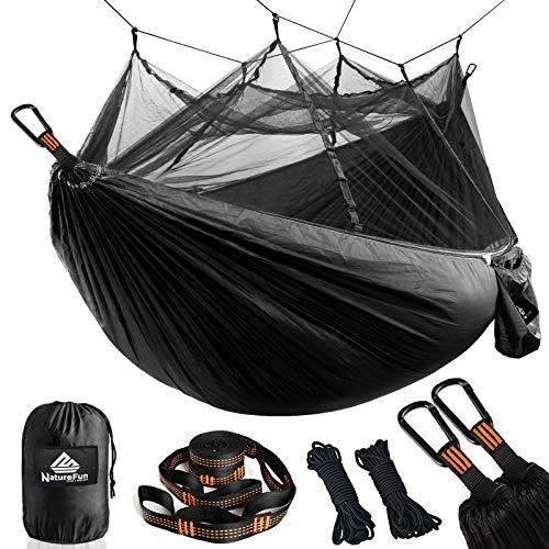 NATUREFUN Hamac Ultra-léger de Voyage Camping | 300 kg Capacité de Charge,(275 x 140 cm) Respirante, Nylon à Parachute à séchage Rapide | 2 x Mousquetons de qualités,4 x Sangles de Nylon Inclus