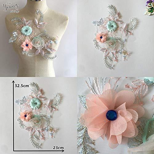 Hoge kwaliteit 3D bloem Kant kraag Borduren Naaien Tule Hals Strass DIY Kant Stof Applique Jurken Accessoires