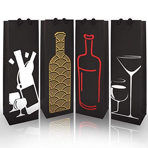 Bolsas de regalo para botellas de vino 12 unidades cena color Foil con asas para aniversario cumplea/ños inauguraci/ón de la casa
