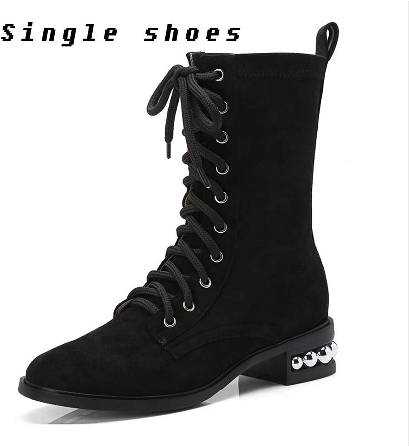 Women's shoes Leather Winter Snow Boots Boots Low Heel Mid-Calf Boots ,Comfort Ankle Boots,High Heel ,Frosted Material ,Rough High Heels,Fashion Boots, Lace-up Boots