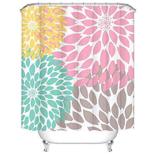 """Colorful Dahlia Flowers Shower Curtain Pink Gray Turquoise Yellow Blossom Floral Polyester Fabric Waterproof Bathroom Curtains with Hooks 72""""x72""""Inches"""