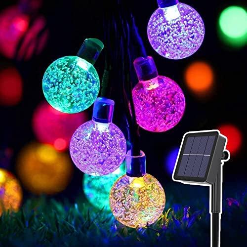 Guirnalda de Luz Solares 11m -  Sendowtek 60pcs Bombillas Solares Iluminación jardin Bolas Luces Led Luces para Terrazas Decoración para Árbol de Navidad Fiesta Boda Casa ( Multicolor )