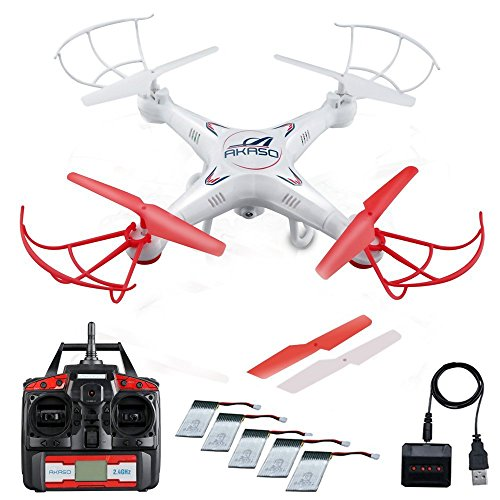 AKASO X5C Quadcopter 2.4GHz 4 CH 6 Axis Gyro RC Drone HD Camera Bundle with Battery and Charger