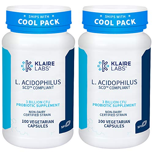 Klaire Labs L. Acidophilus - 3 Billion CFU Lactobacillus Probiotic, Pure SCD Compliant Formula for Men & Women, Hypoallergenic & Non-Dairy (100 Capsules, 2 Pack)