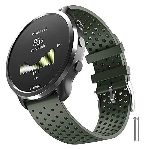 ANBEST 20mm Ersatzarmband Kompatibel mit Garmin Venu/Venu sq/Vivoactive 3/Suunto 3 Fitness Armband, Sport Silikon Uhrenarmband für Forerunner 158/245/645/Move 3 Smart Watch, Armee Grün, S