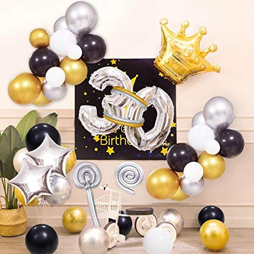70Pcs Kit de guirnaldas con globos Yiran Clásico Decoración de Cumpleaños -Happy Birthday Número 30 Globo;Balloon de Metálico Látex&Estrella, Partido para el Cumpleaños de 30 Años