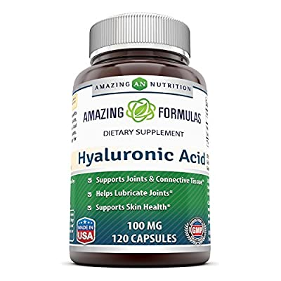 Amazing Formulas Hyaluronic Acid 100 mg Capsules - Support Healthy Connective Tissue and Joints - Promote Youthful Healthy Skin