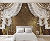 Minyose custom High quality 3D wallpaper mural 3d European style curtain lace TV background wall wallpaper for walls 3D-140cmx100cm