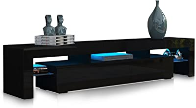 TV Stand Cabinet Entertainment Unit 2 Drawers High Gloss Wooden Furniture Black 189CM