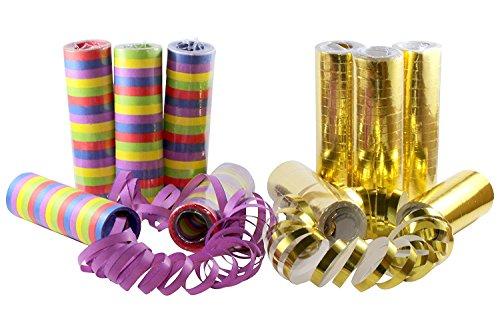 kiddyparty Stelle filanti Feste di Bambini, Pacco da 10 qualità Premium, 5 Oro/Bianco-Metalliche, 5 Colorate. per Decorazioni, Feste, Compleanni, Matrimoni, Natale & Capodanno.