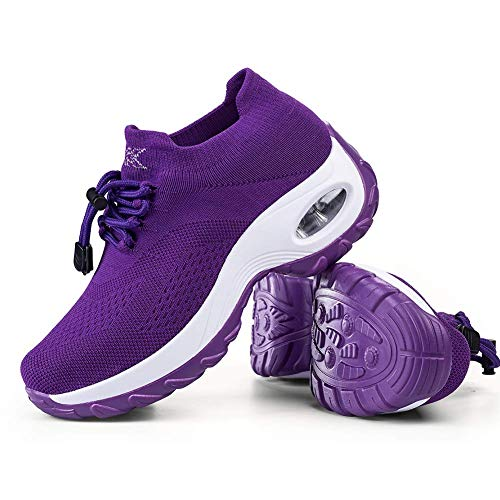 Women's Walking Shoes Sock Sneakers - Mesh Breathable Air Cushion Fashion Sneakers Platform Arch Support Workout Shoes Lace-up Pure Purple,8.5