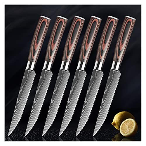 Damasco Cuchillo de cocina Sharp Steak Cuchillo Conjunto de acero inoxidable CARNE SERRATED CUERBLE CUCHILLO MULTIFUNCIONAL COMEDOR (Color : 6pcs set)