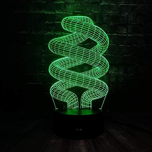 3D Illusion Nachtlicht 7 Farbe Led Vision Mode Birne Usb Schlaf Schreibtisch Tisch Home Dna Dekoration Dimmer Kinderspielzeug Buntes Kreatives Geschenk Fernbedienung
