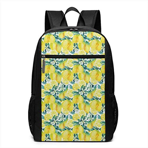 Borsa del portatile Watercolor Paintbrush Stylized Lemons Laptop Backpack 17-inch Laptop Backpack for High School Or College bookbag
