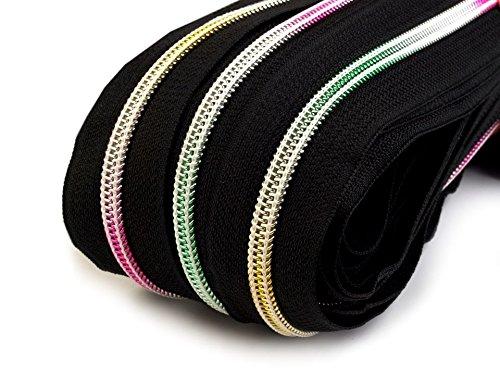 Schnoschi 6 m endlos Reißverschluss mit Regenbogeneffekt 5mm Laufschiene + 15 Zipper, Spiralreißverschluss