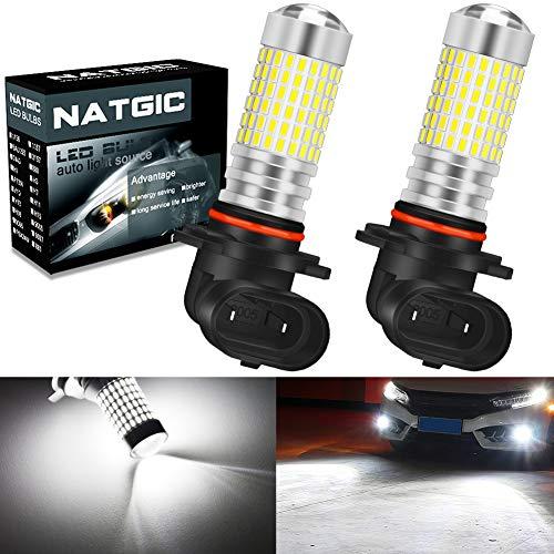 NATGIC 9005 HB3 Ampoules antibrouillard à LED Blanc xénon 3000LM 3014 SMD 144-EX avec projecteur à lentille pour feu antibrouillard extérieur, 12-24V (Lot de 2)