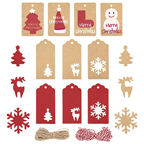 Etiquetas Kraft, 200pcs Etiquetas Navideñas, Cuerda de 2x10 Metros, Etiqueta de Regalo de árbol de Navidad con Copo de...
