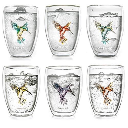 Creano doppelwandige Gläser Hummi, Latte Macchiato, Thermoglas mit Kolibri...
