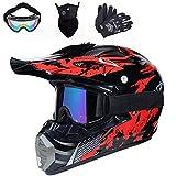 Motocross Helm, Crosshelm mit Brille Handschuhe Maske, Unisex Fullface Cross Helm Downhill Quad...