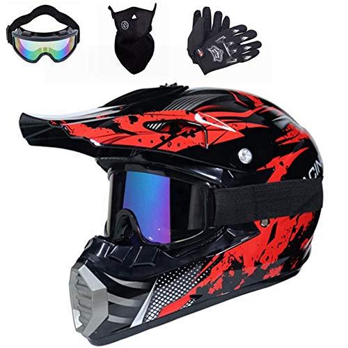 Motocross Helm, Crosshelm mit Brille Handschuhe Maske, Unisex Fullface Cross Helm Downhill Quad Enduro ATV Motorrad Schutzhelm für Herren Damen (M (56cm-57cm))