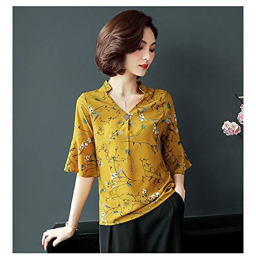 TTKANG T-Shirt da Donna Camicetta Floreale Summer Peony Rose Flower Stampa Chiffon Shirt Donna Top Plus Size M-4Xl Flare Sleeve Femininas