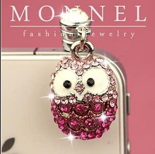 ip161e Cute Pink Crystal OWL Cell Phone 3.5mm Ear Cap Anti Dust Plug Charm