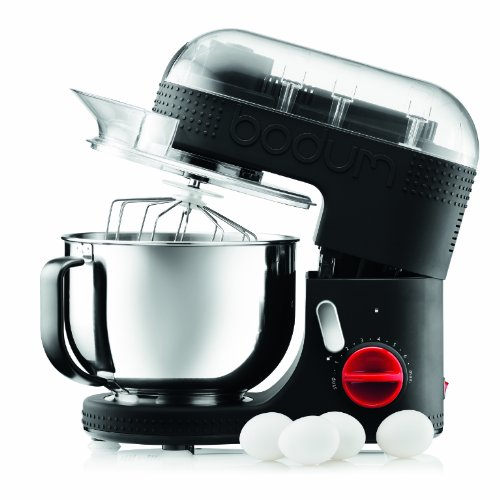 BODUM 11381-01US Bistro 700W 7-Speed Tilt-Head Stand Mixer with Pouring Shield, 5-Quart, 4.7-Litter, Stainless Steel Bowl, Beaters, Whisk, Dough Hook, Black