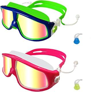 MOTOEYE Kids Swim Goggles Pack of 2,Mirrored Swimming Glasses for Children and Early Teens,Boys and Girls from 3 to 15 Years Old,with Anti-Fog UV Protection Lenses