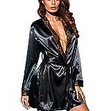 OverDose Damen Frauen Damen Cosplay Silk Kimono Dressing Babydoll Home Party Dessous Luxus Bademantel Nachtwäsche Kleid(Schwarz,EU-38/CN-XL)