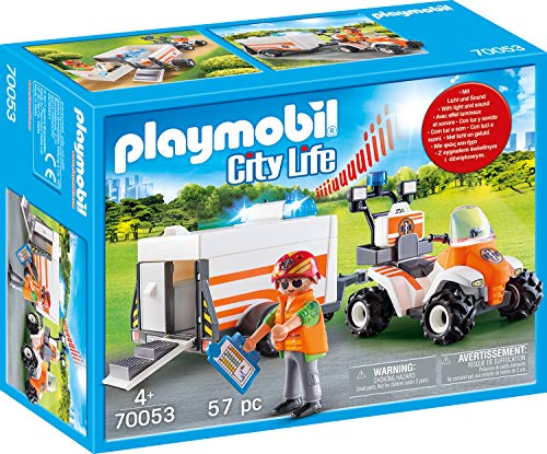 PLAYMOBIL Life City Quad Rescate+Remolque, Color carbón (70053)