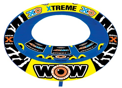 WOW World of Watersports Xtreme Inflatable 1 2 or 3 Person Inflatable Towable Tube for Boating | 12-1030