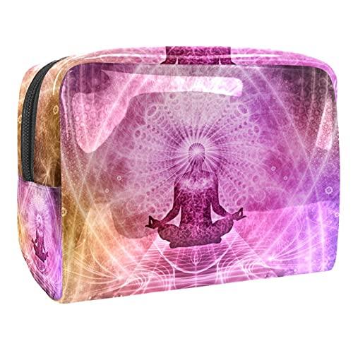 Kit de Maquillaje Neceser Yoga psicodélico Make Up Bolso de Cosméticos Portable Organizador Maletín para Maquillaje Maleta de Makeup Profesional 18.5x7.5x13cm
