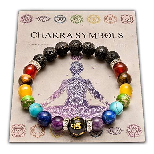 wiccan star Pulsera Doble de 7 Chakras Joyas curativas de Christal.