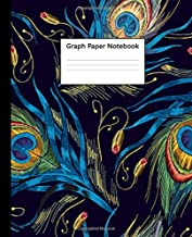 Graph Paper Notebook: Quad Ruled 5 x 5 (.20'') Graphing Paper Composition Notebook for Math Science Students Teachers - 5 Squares per Inch, Large - Nifty Artistic Peacock Feather Pattern