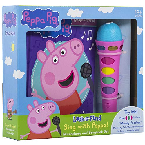 Peppa Pig - Sing with Peppa! Microphone Toy and Look and Find Sound Activity Book Set - PI Kids