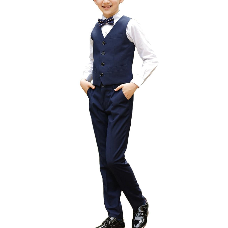 Zhhlinyuan 良質 子供 Vest+Shirt+Pants+Tie Formal Set Elegant Boys 4 Piece Gentleman Suit