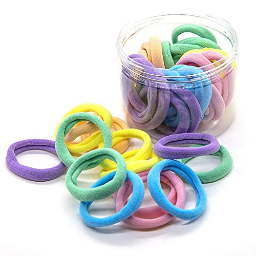 48PCS Seamless Hair Ties Macaron Rainbow Colorful High Elastic Ponytail Holders Hair Bands for Women Girls Teens Children Thick Hair Thin Hair Braided Accessories No Damage Stretchy Gift for Her
